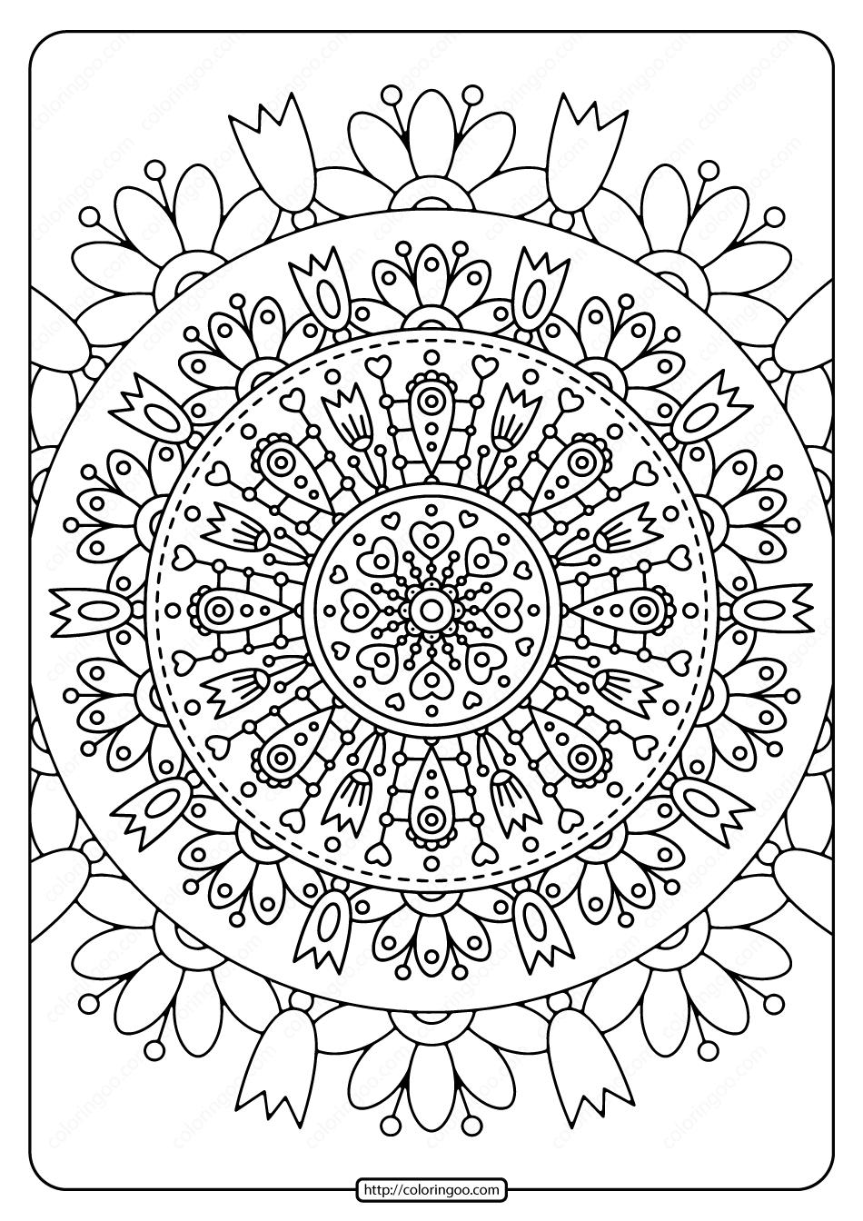 Printable Spring Mandala Pdf Coloring Page