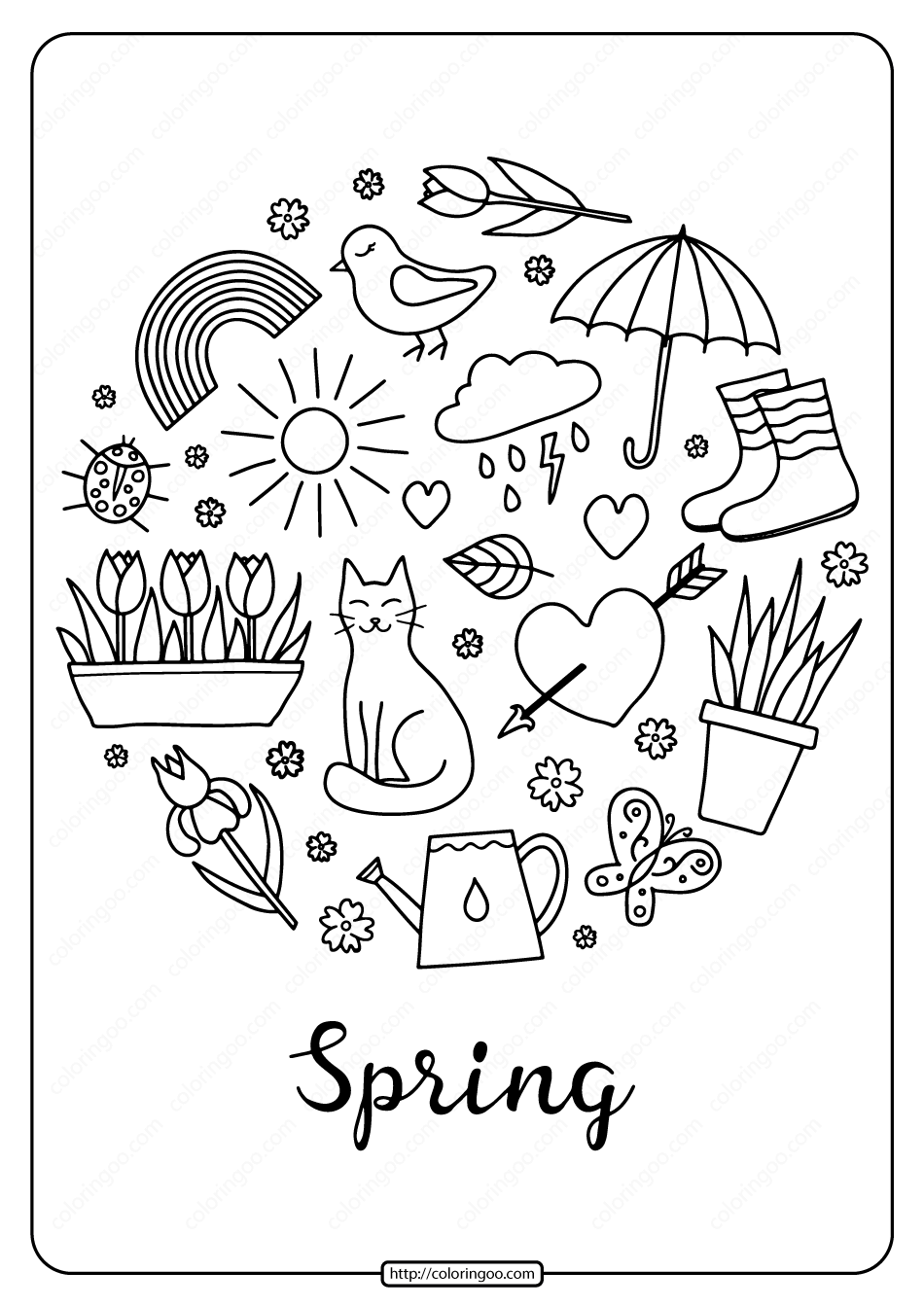 Printable Spring Pdf Coloring Book