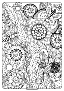 Printable Summer Flowers Pdf Coloring Page