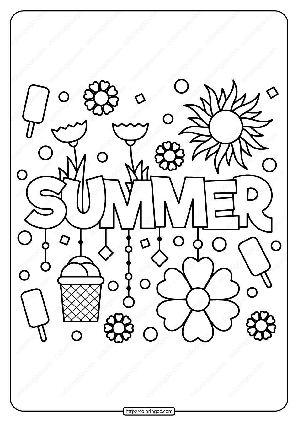 Free Printable Summer Pdf Coloring Page