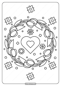 Printable Tulip Wreath and Heart Coloring Page