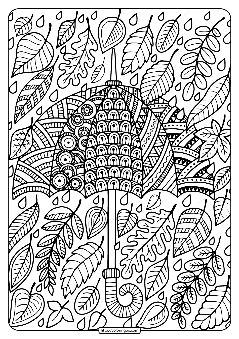 Printable Umbrella and Leaves Coloring Page