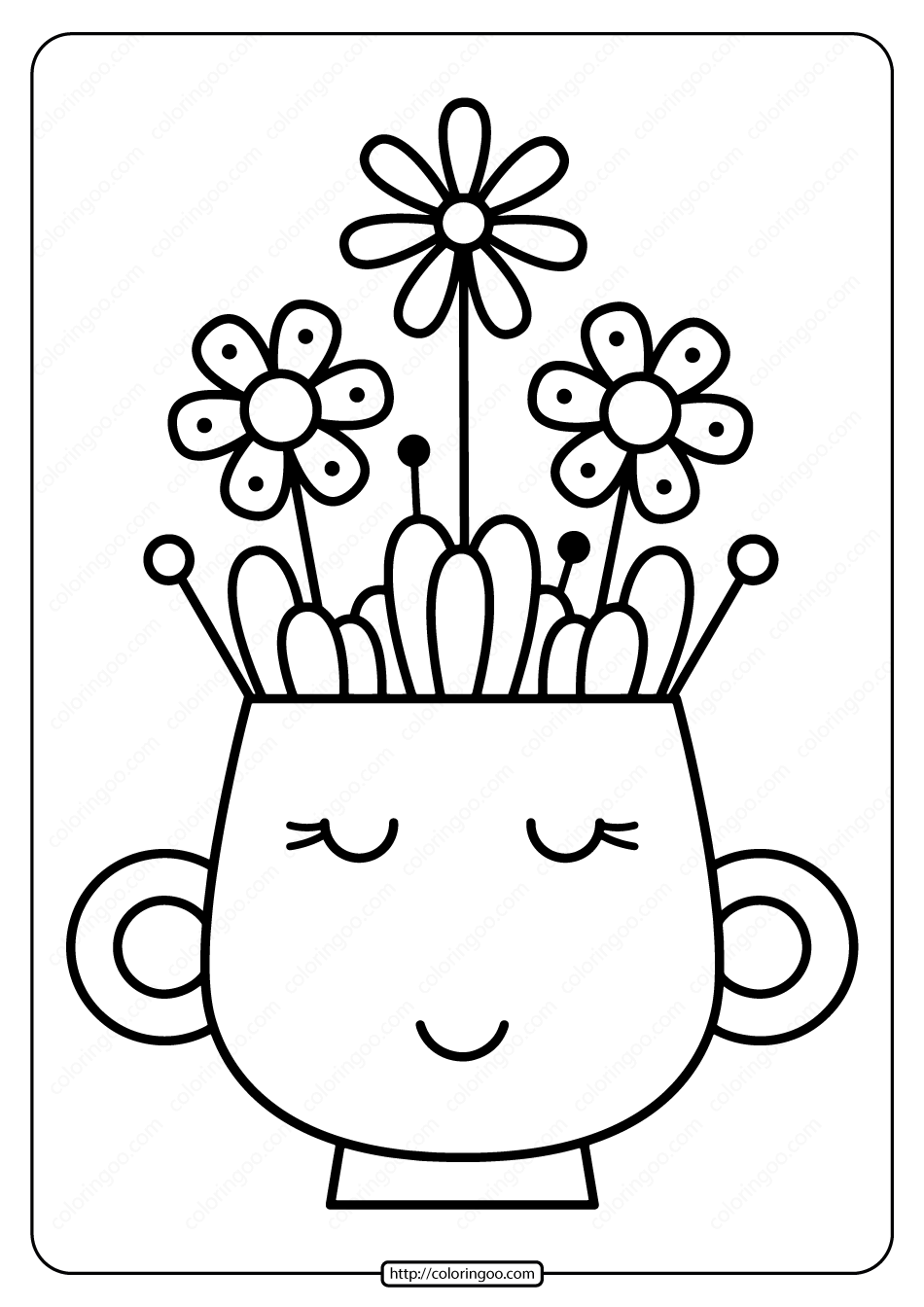 Printable Vase with Spring Flowers Coloring Page