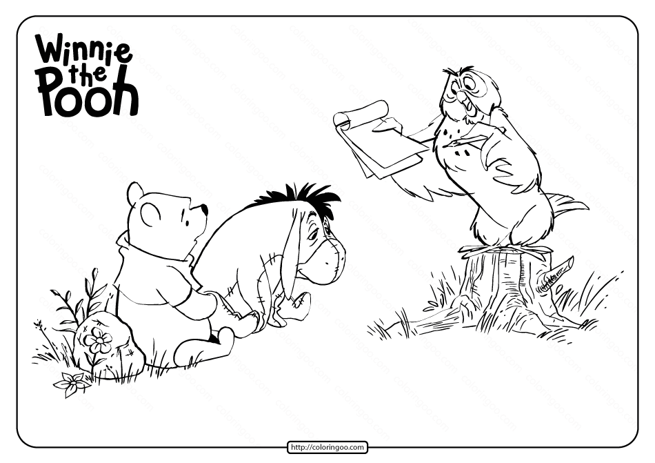 Printable Winnie The Pooh and Owl Coloring Page