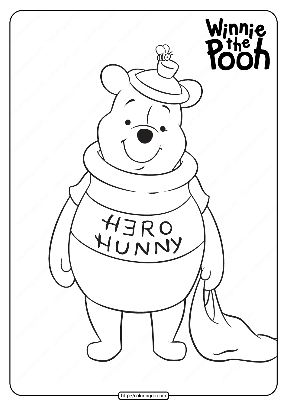 Printable Winnie the Pooh Halloween Coloring Page