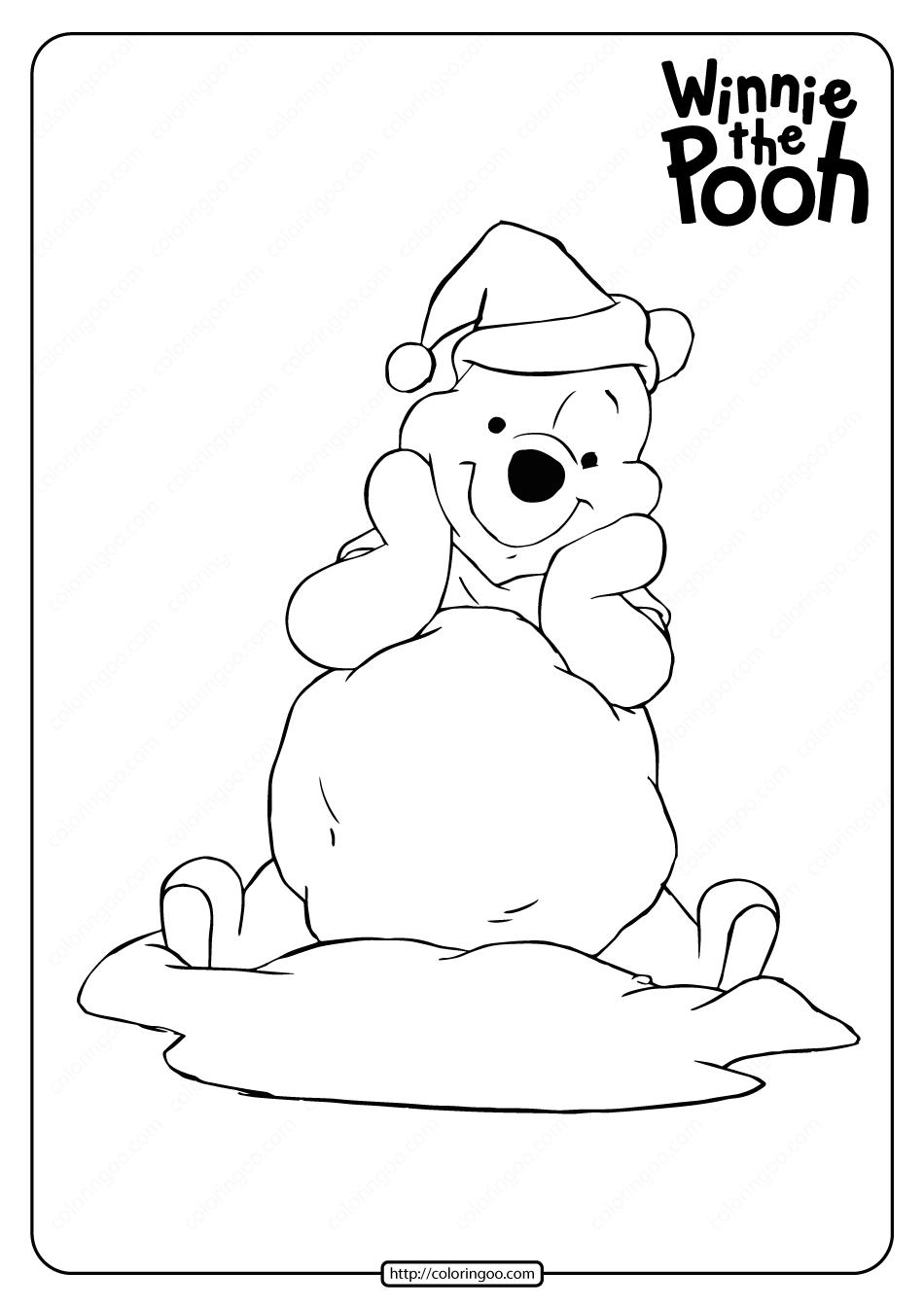 Printable Winnie the Pooh Santa Coloring Page