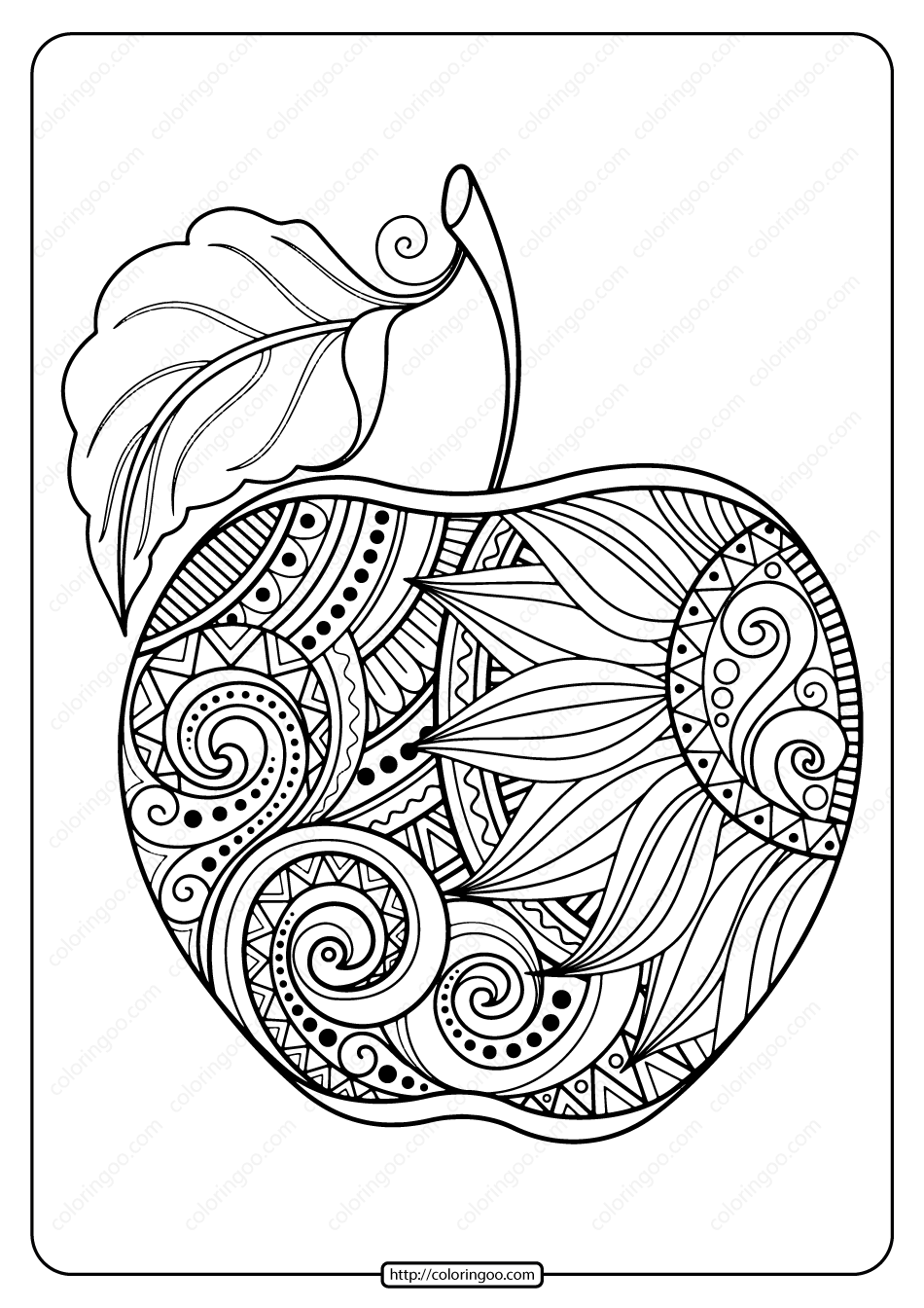 Printable Zentangle Apple Pdf Coloring Page