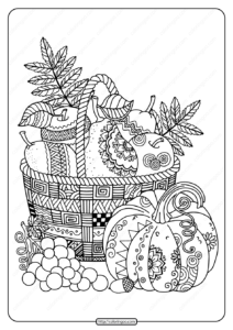 Printable Zentangle Apples in Basket Coloring Page