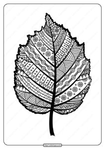 Printable Zentangle Hazel Leaf Pdf Coloring Page