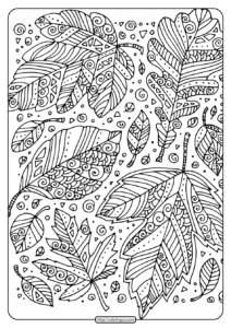 Printable Zentangle Leaves Coloring Page
