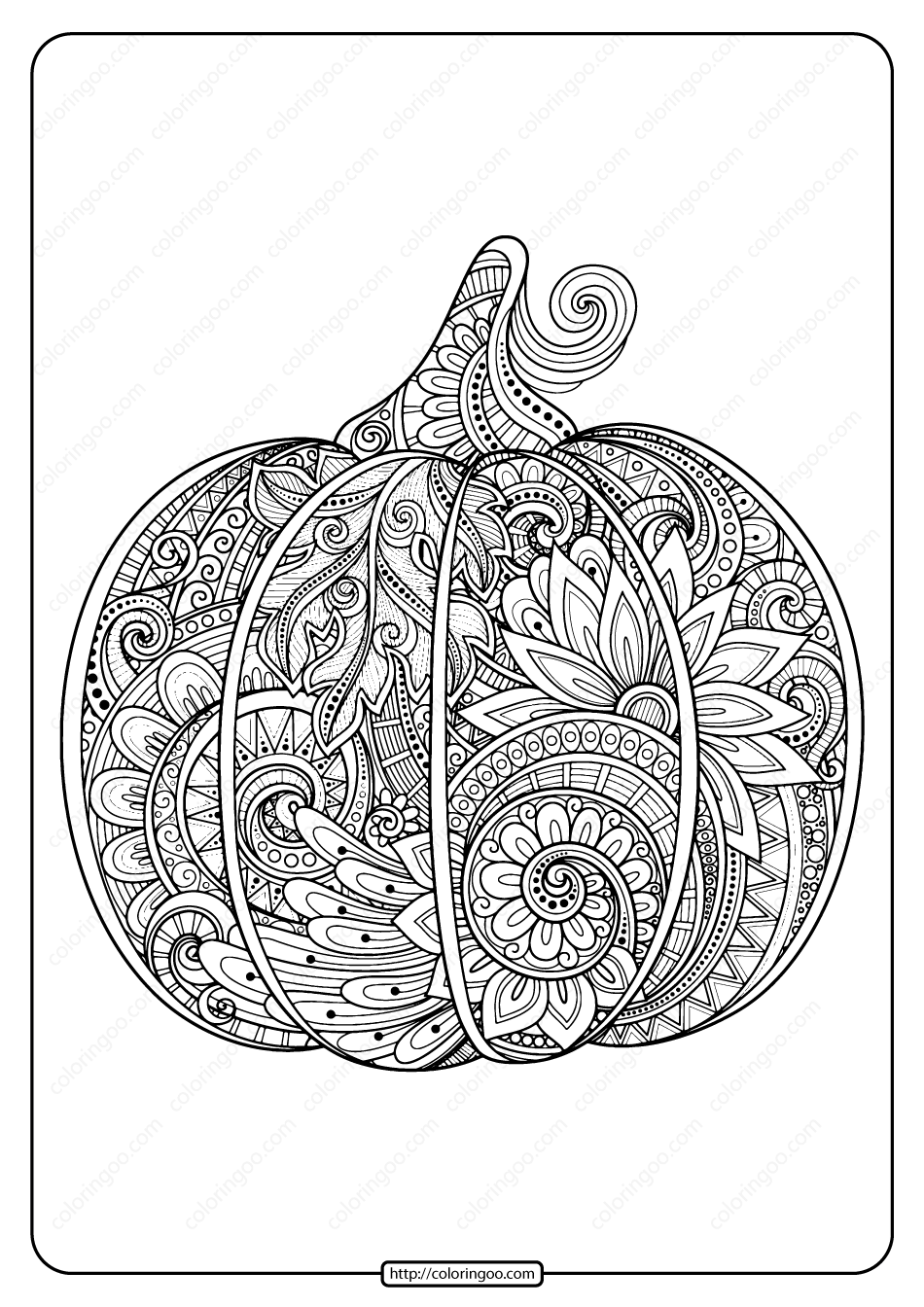 Printable Zentangle Pumpkin Adult Coloring Page