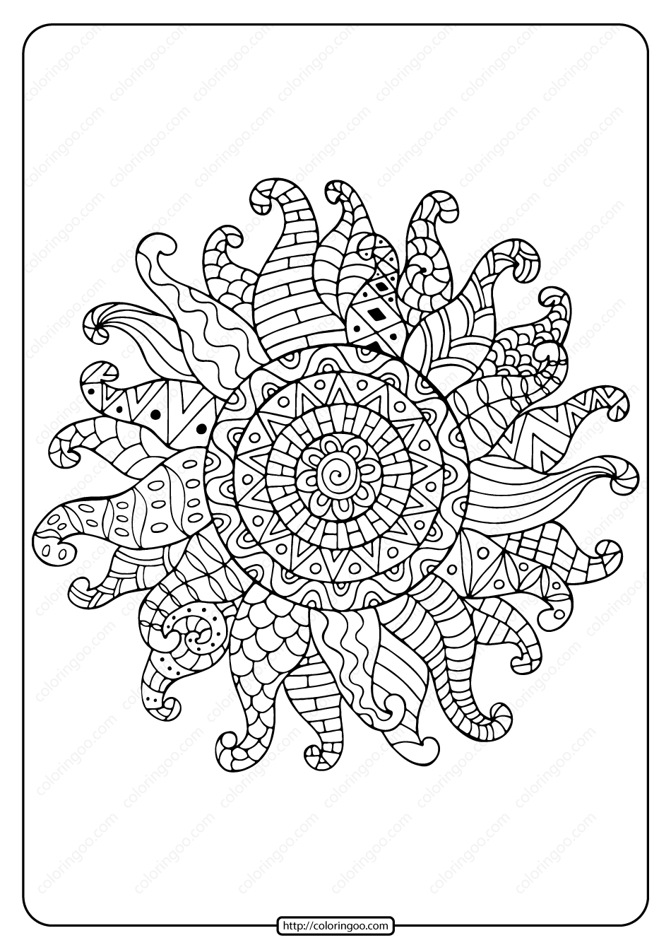 Printable Zentangle Sun Pdf Coloring Page