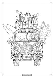 Retro Bus with Suitcases Pdf Coloring Page