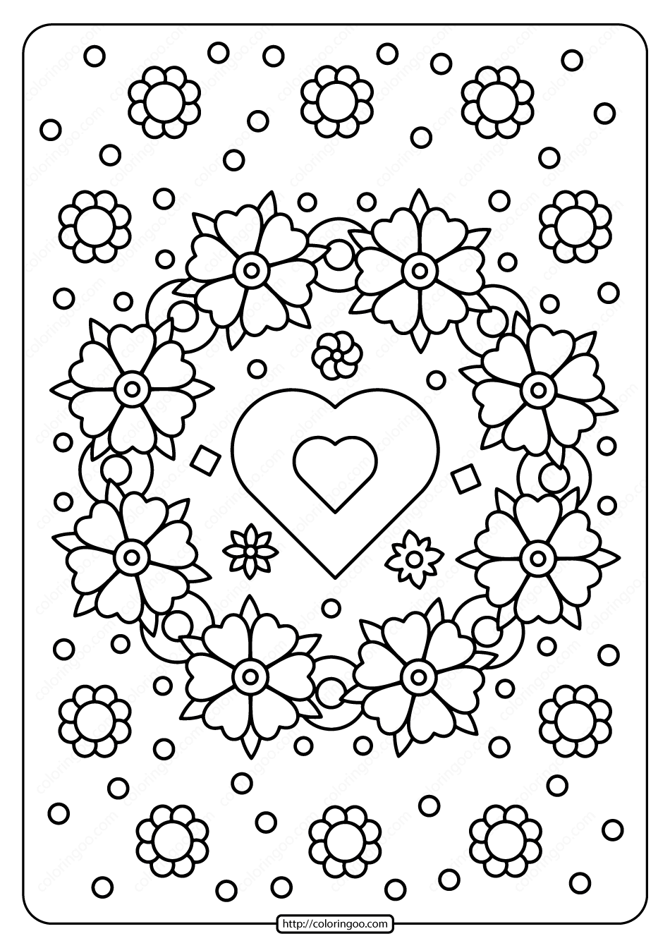 Spring Flower Wreath with Heart Coloring Page