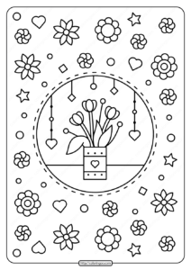 Spring Flowers in a Vase Pdf Coloring Page