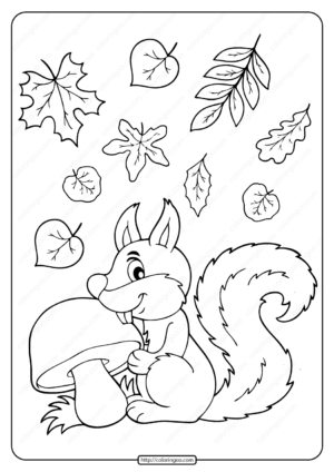 Squirrel With Mushroom and Leaves Coloring Page