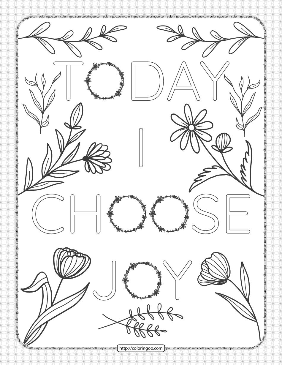 Today I Choose Joy Pdf Coloring Page