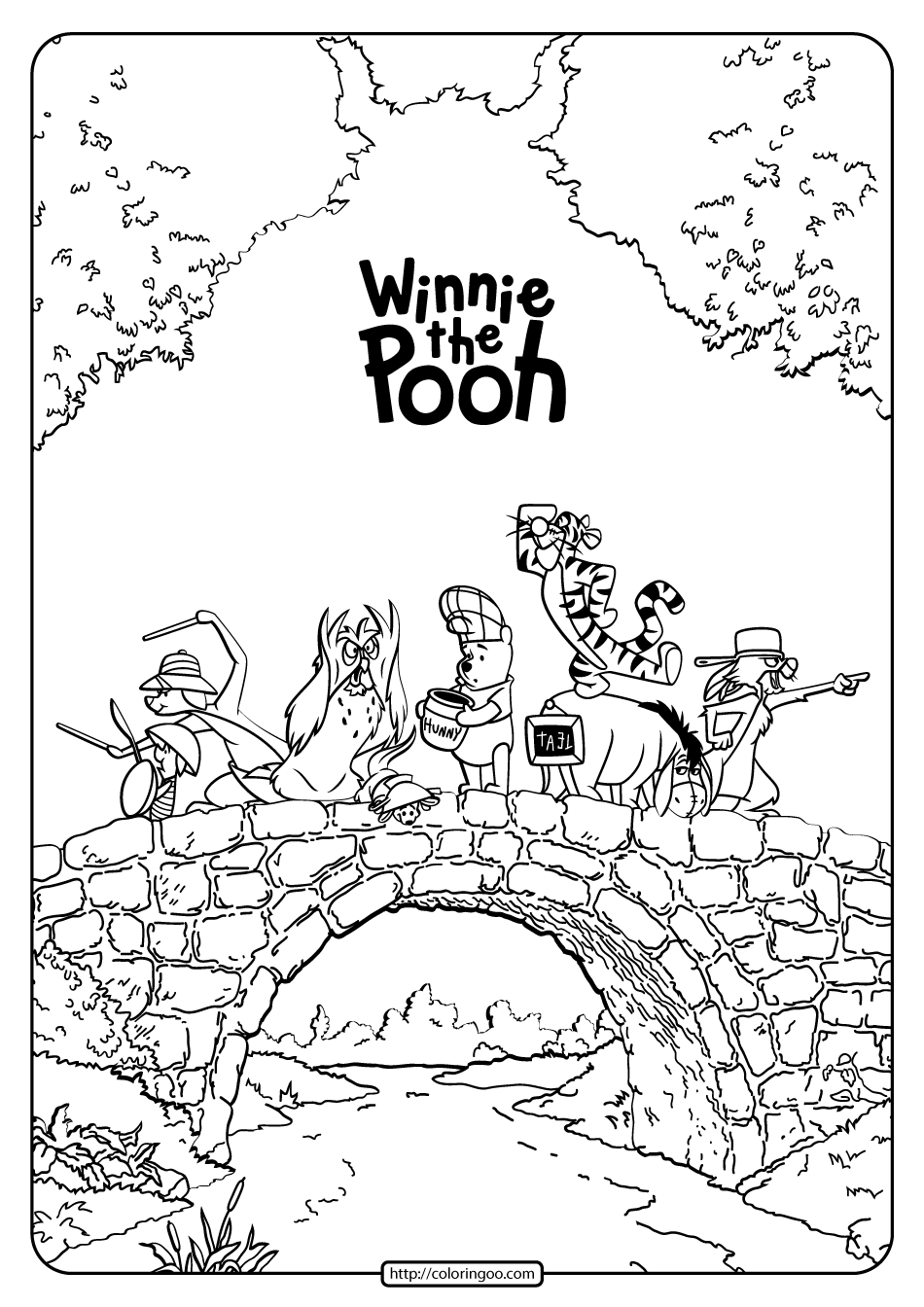 Tigger And Piglet Raking Leaves Coloring Page | H & M Coloring Pages | 1344x950