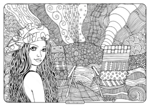 Beautiful Girl on Beach Pdf Coloring Page