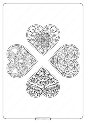 Free Printable 4 Hearts Mandala Pdf Coloring Page