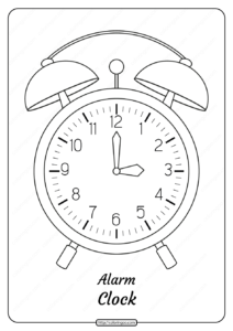 Free Printable Alarm Clock Pdf Coloring Page