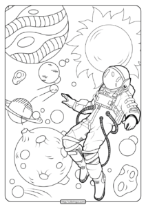 Free Printable Astronaut in Space Pdf Coloring Page