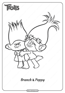 Printable Trolls Branch and Poppy Pdf Coloring Page