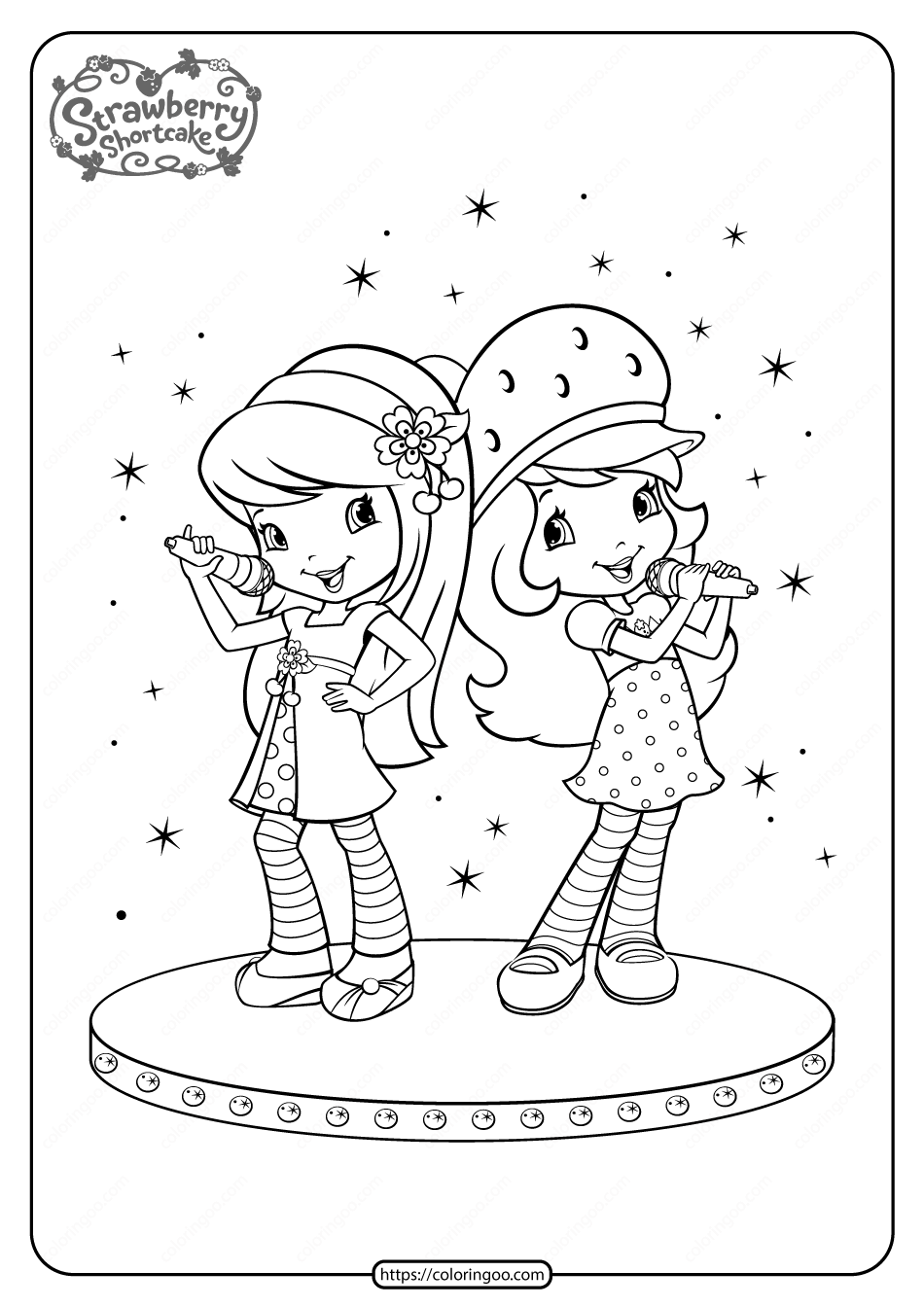Printable Cherry Strawberry Onstage Duet Coloring