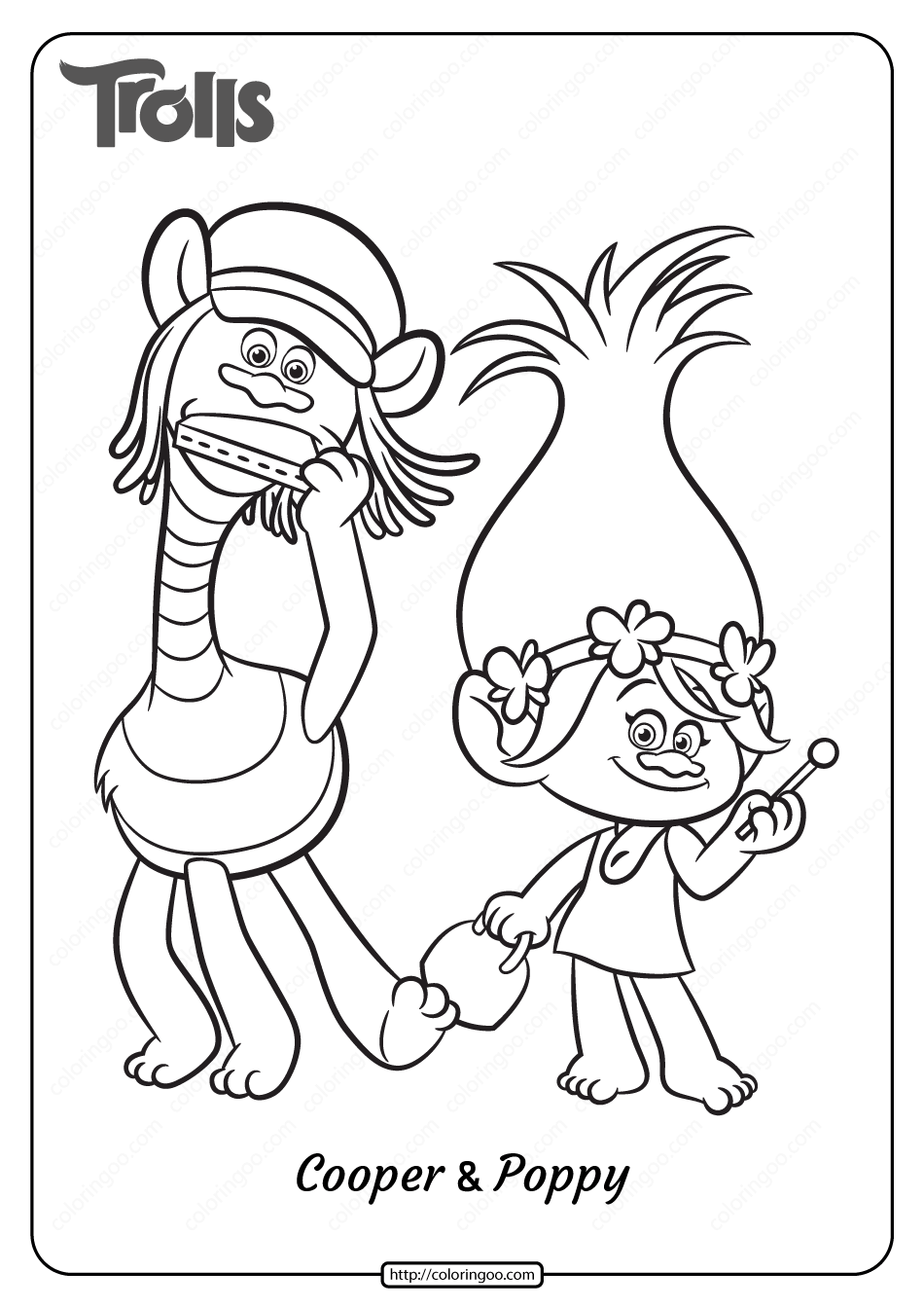 Printable Trolls Cooper and Poppy Coloring Page
