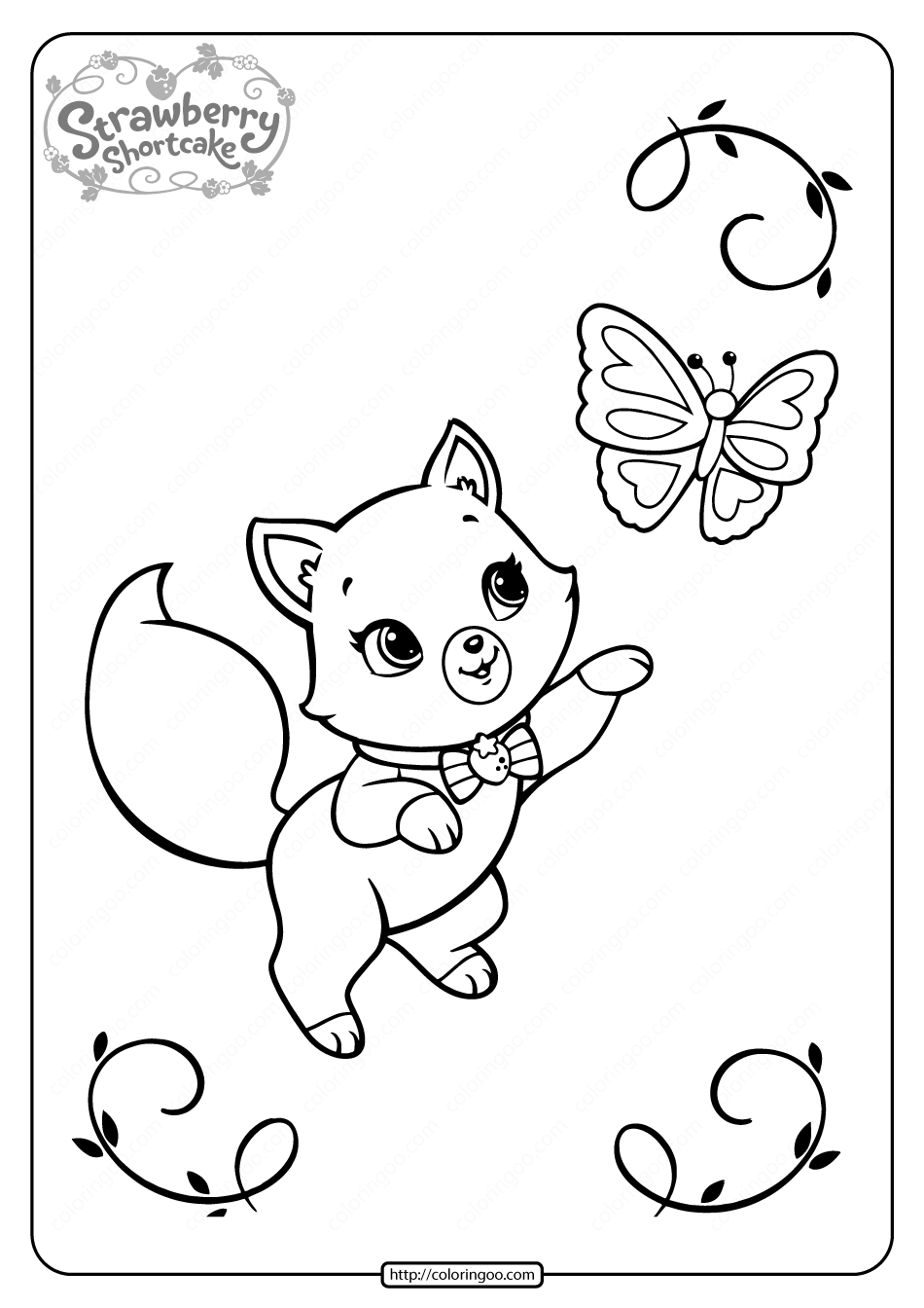 Custard Playing with a Butterfly Coloring Page
