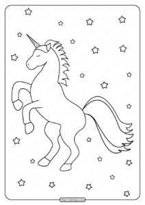 Printable Cute Unicorn with Stars Coloring Page