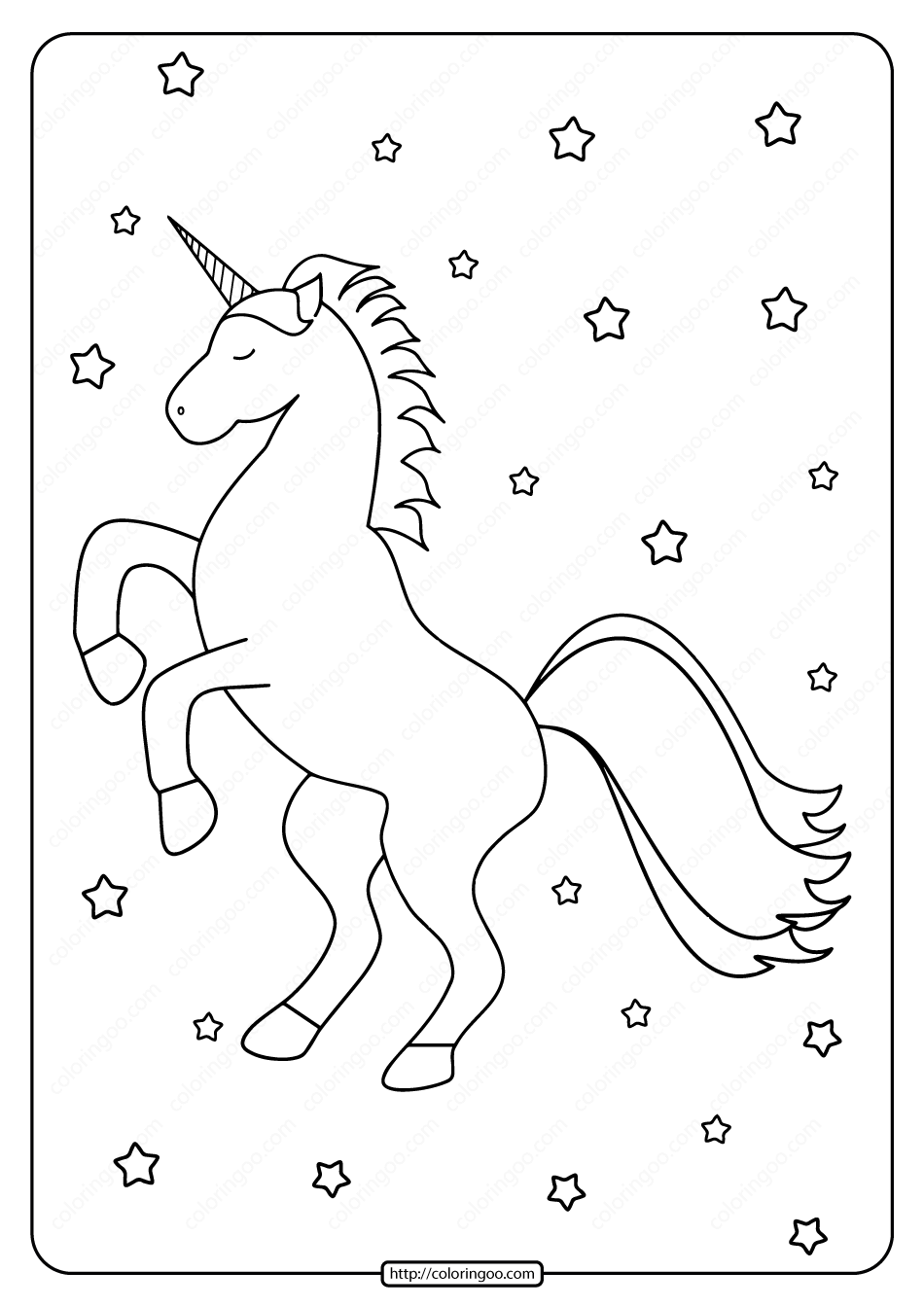 Printable Cute Unicorn with StarsColoring Page