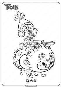 Free Printable Trolls Dj Suki Pdf Coloring Page