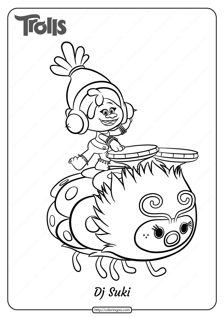 Free Printable Trolls Dj Suki Pdf Coloring Page 1