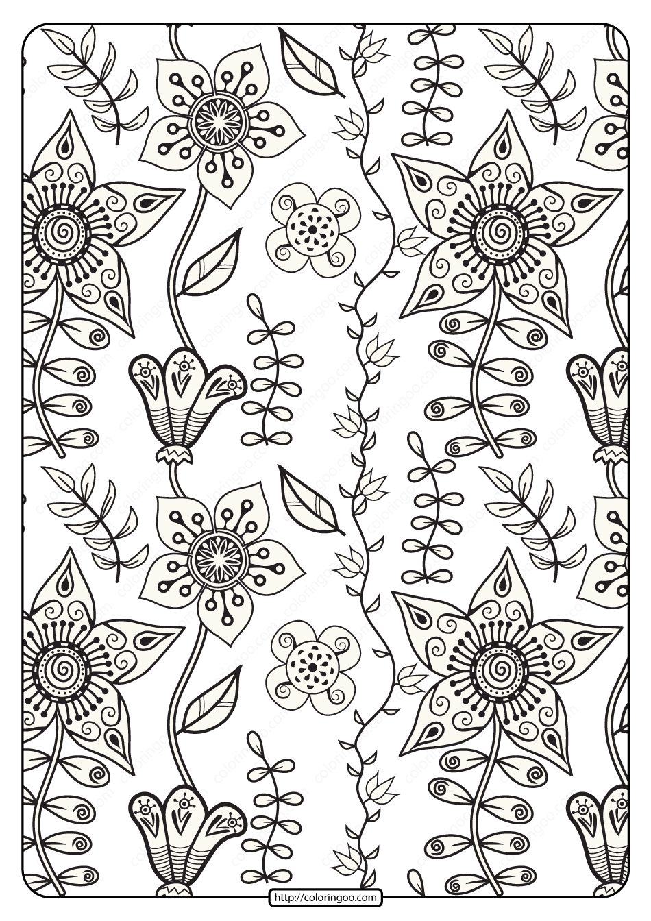 Free Printable Floral Pattern Pdf Coloring Page