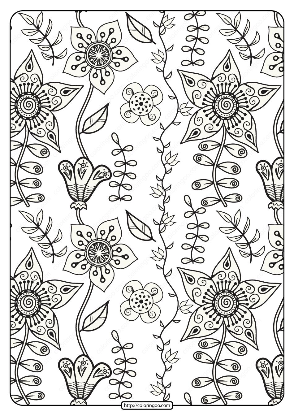 Free Printable Floral Pattern Pdf Coloring Page