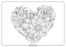 Free Printable Flower Heart Pdf Coloring Page