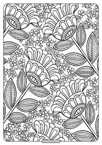 Free Printable Four Big Flowers Pdf Coloring Page