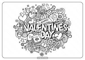 Free Printable Happy Valentines Day Coloring Page