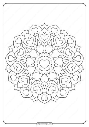 Free Printable Heart Mandala Pdf Coloring Page
