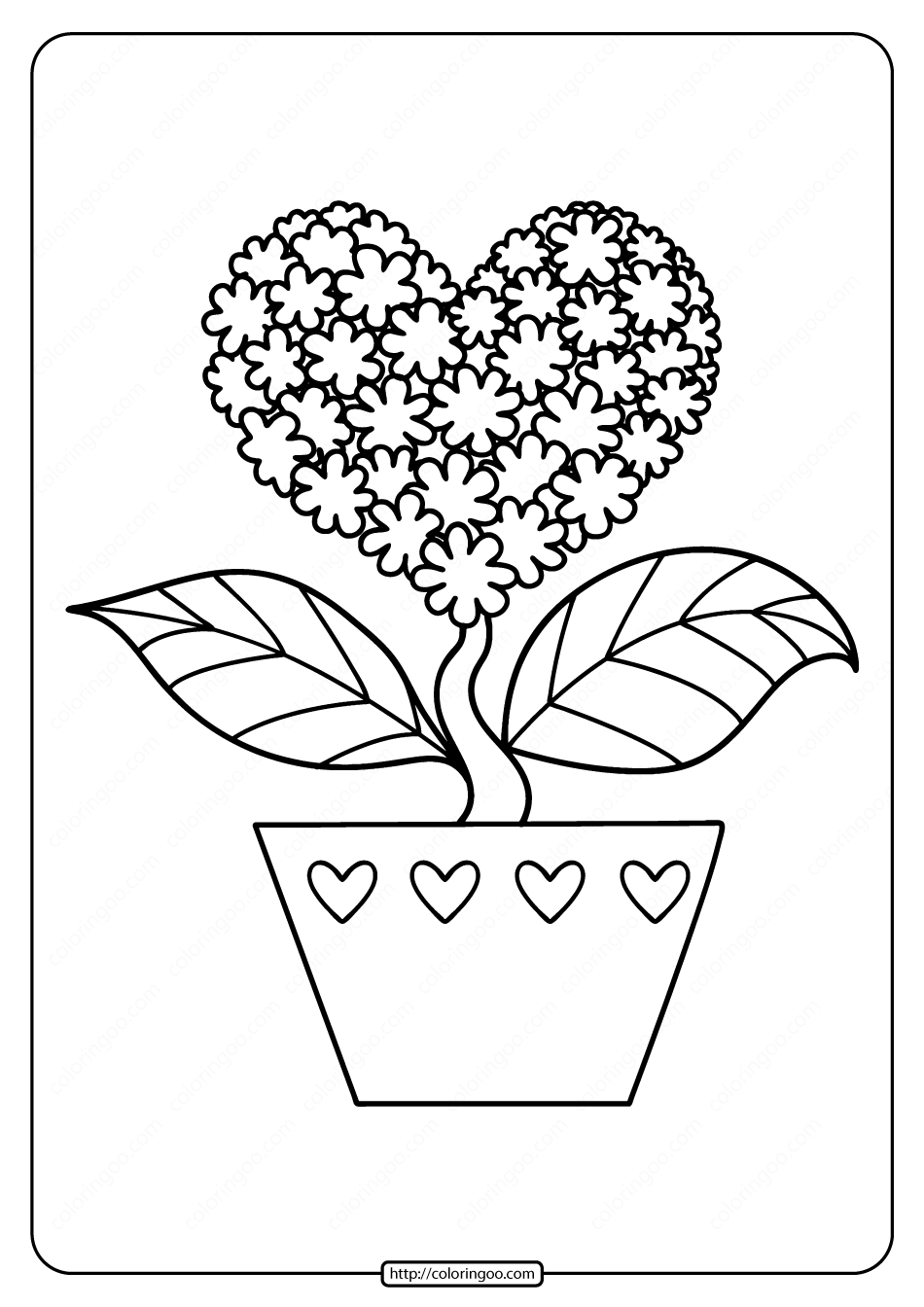 Free Printable Heart Shaped Flower Coloring Page
