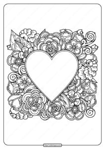 Free Printable Heart with Flowers Pdf Coloring Page