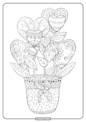 Free Printable Hearts in a Flower Pot Coloring Page