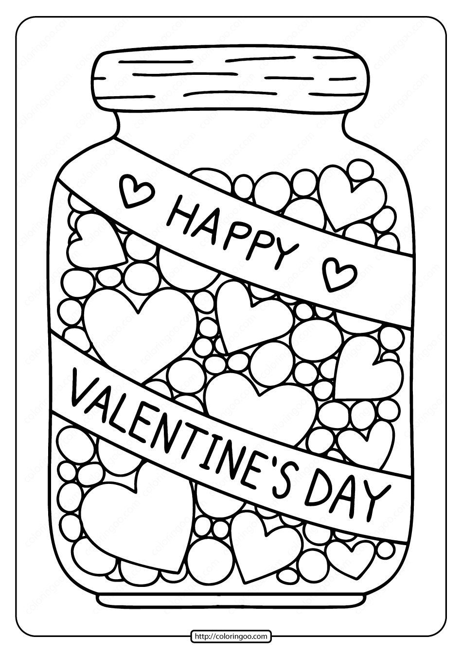 Free Printable Hearts in a Jar Coloring Page
