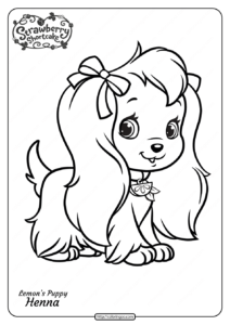Free Printable Lemon's Puppy Henna Pdf Coloring Page