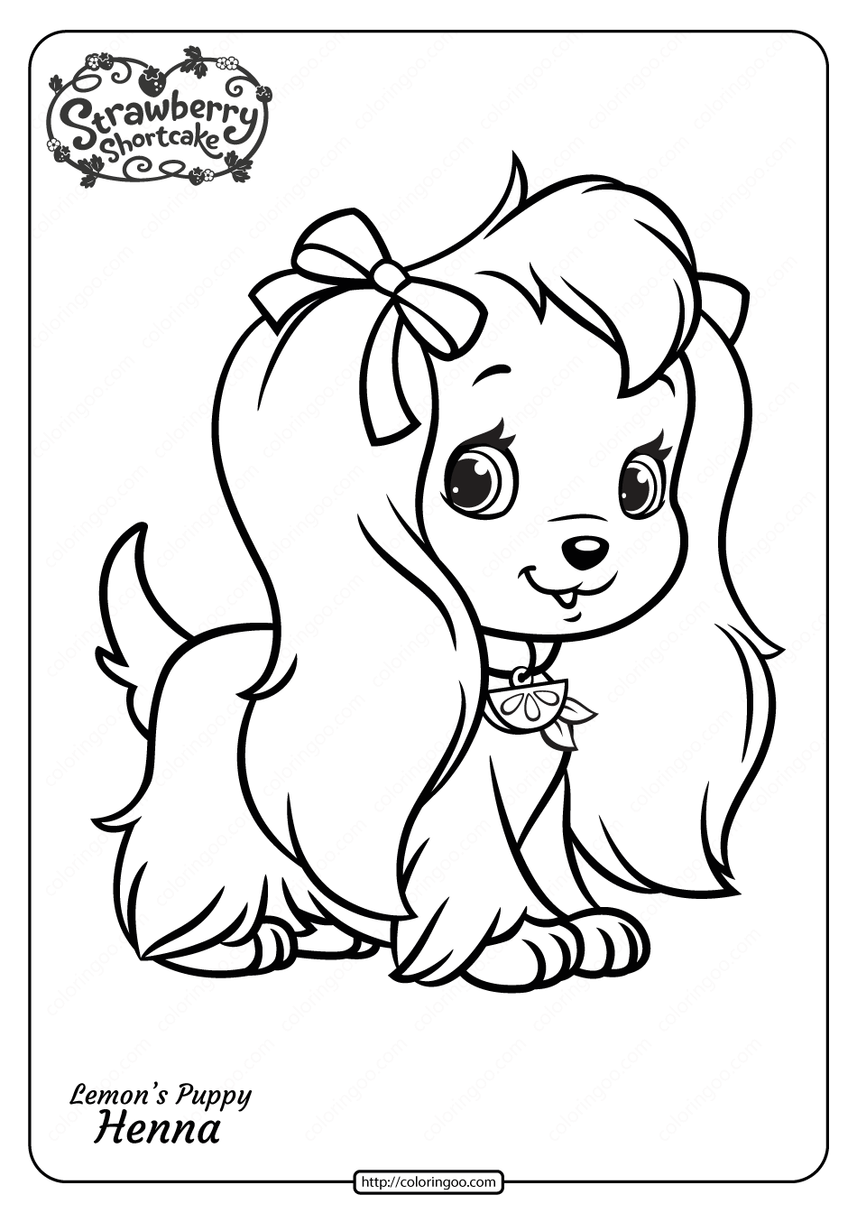 Free Printable Lemons Puppy Henna Pdf Coloring Page