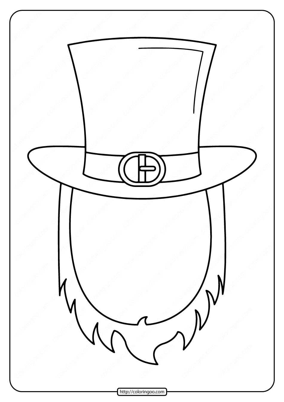 Free Printable Leprechaun Mask Frame Coloring