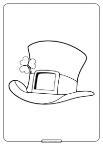 Printable Leprechaun Top Hat Pdf Coloring Page
