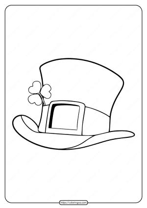 Printable Leprechaun Top Hat Pdf Coloring Page