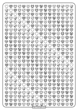 Free Printable Lots of Hearts Pdf Coloring Page
